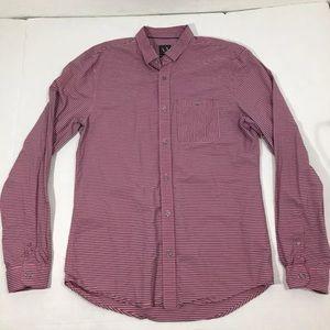 Armani Exchange Pink Striped Long Sleeve Shirt L
